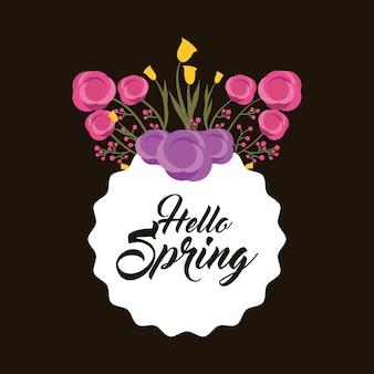 Witaj wiosna etykiety dekoracyjne kwiaty i liście ciemne tło