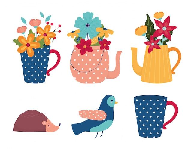 Witaj wiosna garnek wazon ptak jeż kwiaty sezon ikony