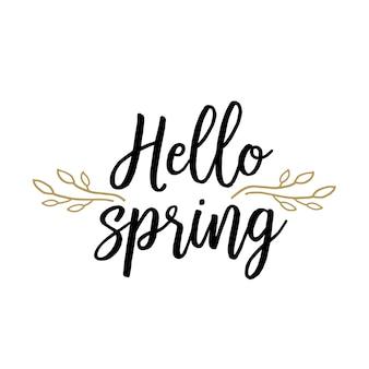 Witaj wiosna napis z gałązek drzewa