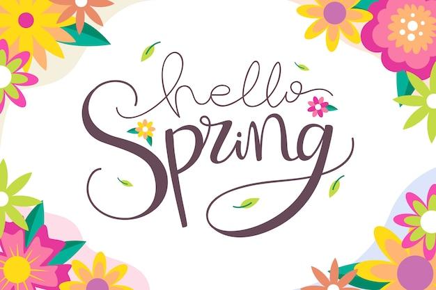 Witaj wiosna napis z kolorowymi kwiatami