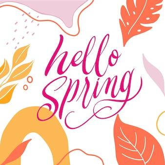 Witaj wiosna napis z liśćmi
