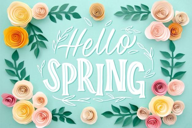 Witaj wiosna napis z ramą w kwiaty
