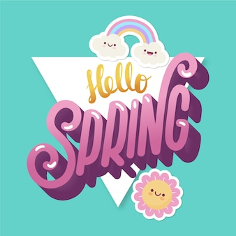 Witaj wiosna napis z tęczą
