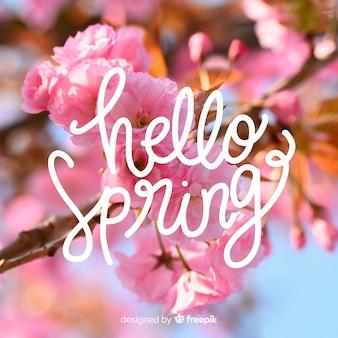 Witaj wiosna napis ze zdjęciem