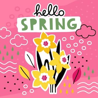 Witaj wiosna ręcznie rysowane szablon z kolaż kwiatów.