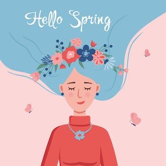 Witaj wiosna szczęśliwa dziewczyna marząca o wiośnie z wiankiem z kwiatów we włosach