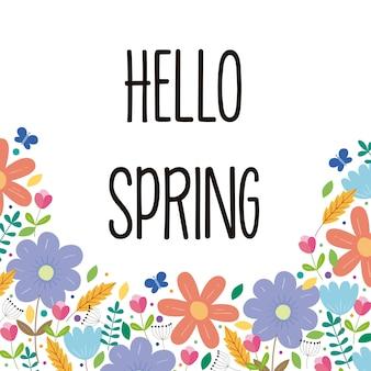 Witaj wiosna tło z kwiatami