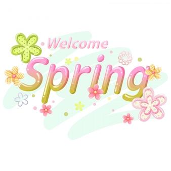 Witaj wiosna wektor czcionki