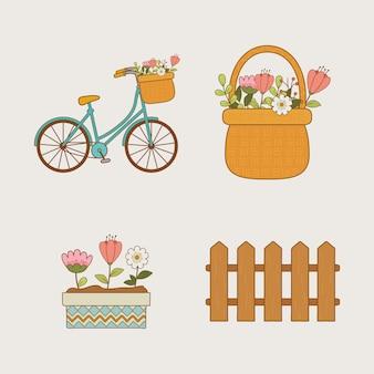 Witaj wiosna zestaw ikon