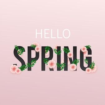 Witaj wiosno. ilustracja z flrowers i liści