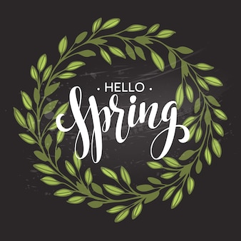 Witaj wiosno. wieniec wiosenny. wiosenne kwiaty są rysowane kredą na czarnej tablicy. szkic, elementy projektu. ilustracja