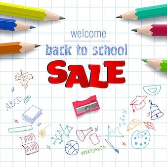 Witaj, wracaj do szkoły, napis sprzedaż na kwadratowym papierze