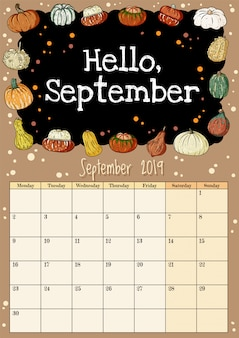 Witaj wrześniowa tablica napis ładny, przytulny hygge 2019 miesiąc terminarz z dekoracją dynie
