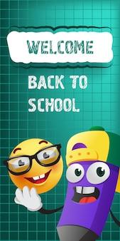 Witaj z powrotem do szkolnego napisu z ołówkiem i emoji z kreskówek