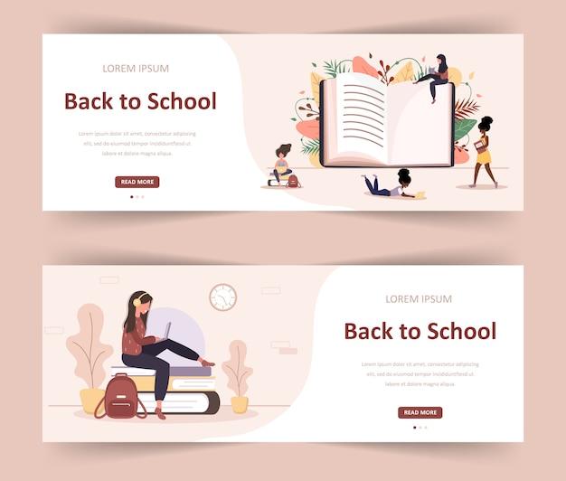Witaj z powrotem w szkole. dziewczyny, czytanie książki. sprytni studenci. postać z kreskówki kobiet. nowoczesna ilustracja w stylu płaski. baner internetowy dla zróżnicowanej społeczności edukacyjnej i kreatywności.
