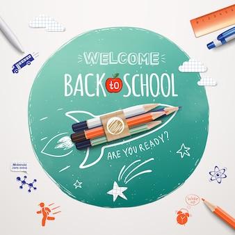 Witaj z powrotem w szkole. start statku rakietowego wykonany za pomocą kolorowych ołówków. realistyczne przedmioty i elementy szkolne. witamy z powrotem na szkolnym banerze.