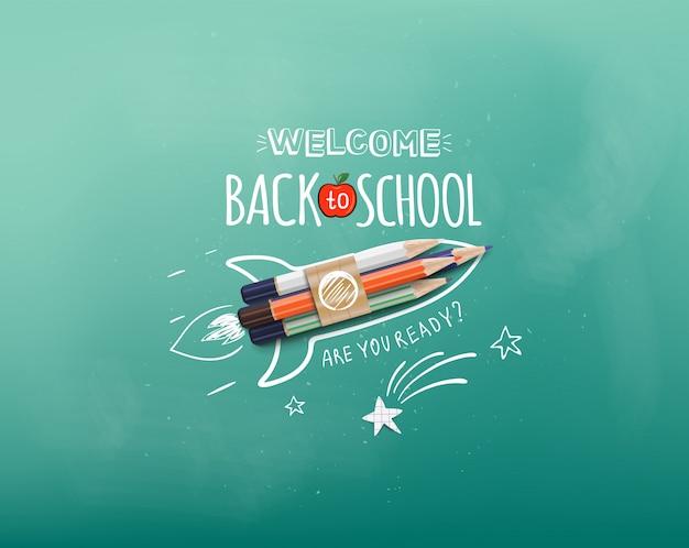 Witaj z powrotem w szkole. start statku rakietowego wykonany za pomocą kolorowych ołówków. witamy z powrotem na szkolnym banerze. ilustracja