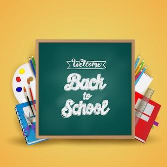 Witaj z powrotem w szkole. tło, plakat i szablon