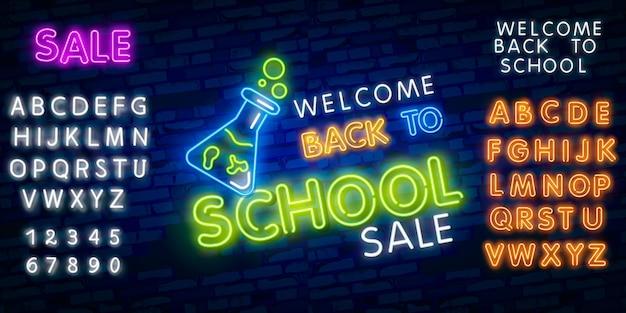 Witaj z powrotem w szkole. typografia czcionki alfabetu efekt stylu neonowego