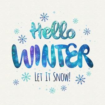 Witaj zimowy napis koncepcji