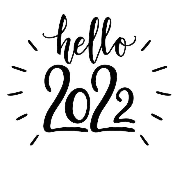 Witam 2022 ręcznie rysowane zabawny baner koncepcja nowego roku ręcznie rysowane ilustracji wektorowych