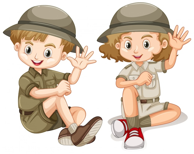 Witam chłopiec i dziewczynka w stroju safari