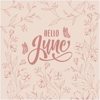 Witam czerwca napis z kwiatowym tłem