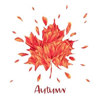 Witam jesień akwarela kwiatowy wzór z liścia klonu. sezonowy baner jesień, plakat, druk, sprzedaż, szablon promocyjny. jesień streszczenie tło. ilustracja wektorowa