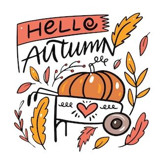 Witam jesień fraza z dynią na wózku i liści