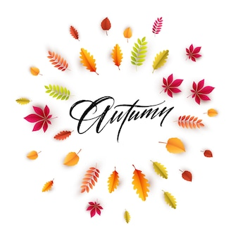 Witam jesień kartkę z życzeniami z jesiennymi liśćmi