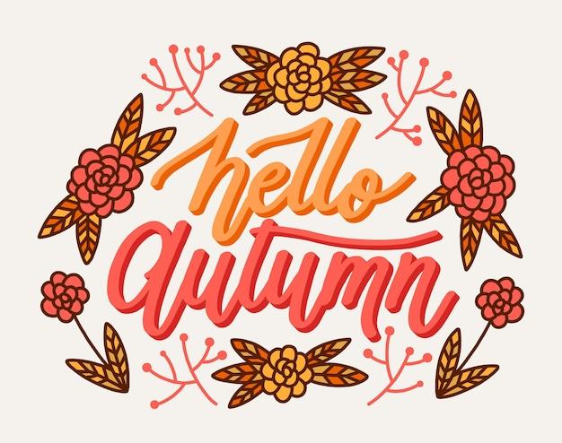 Witam jesień koncepcja napisu