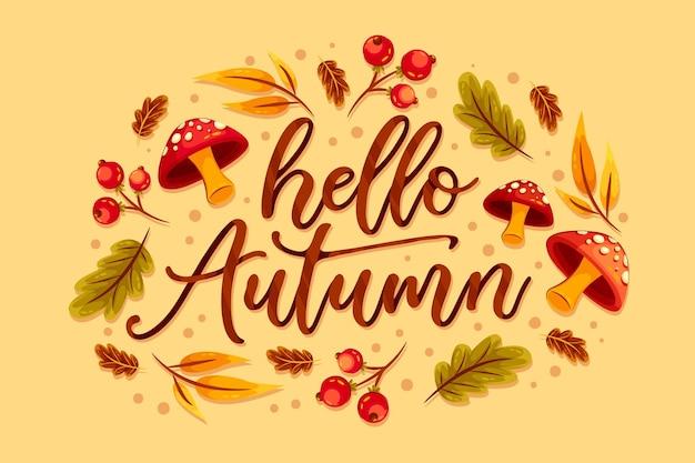Witam jesień napis z liśćmi