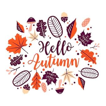 Witam jesień napis z pomarańczowymi liśćmi kwiatowymi, ramka liści na białym tle.
