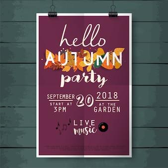 Witam jesień party plakat napis na tle tekstury drewna