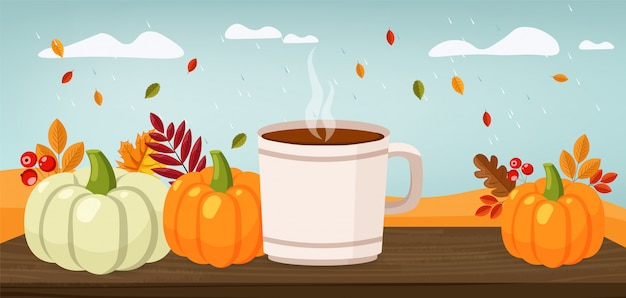 Witam jesień, sprzedaż banner, płaski zestaw dyni i kolorowe liście, ilustracja jesień
