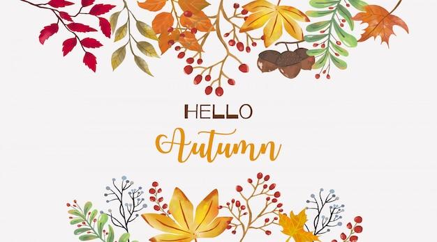 Witam jesień tło z liśćmi