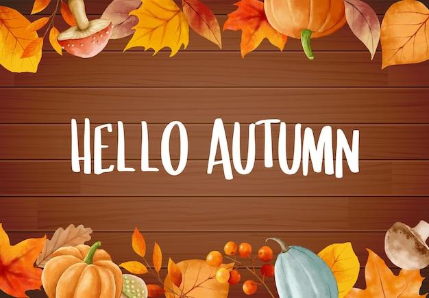 Witam jesień z kwiecistymi liśćmi kwiat rama jesień październik ręcznie rysowane napis szablon