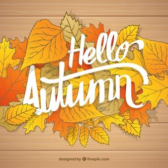 Witam jesienią, drewno z liśćmi