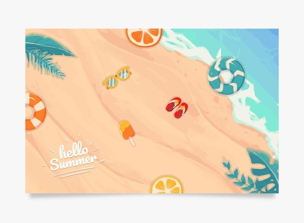 Witam lato banner na pięknej plaży i piasku tle z boją i owocami