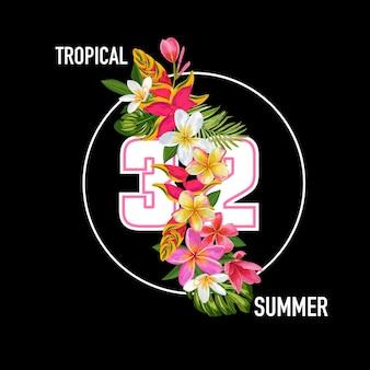 Witam lato kwiatowy plakat. tropikalne kwiaty egzotyczne projekt na sprzedaż baner, ulotka, broszura, t-shirt, nadruk na tkaninie. lato akwarela tło. ilustracja wektorowa