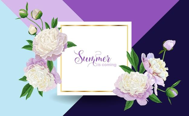 Witam lato kwiatowy wzór z kwitnących białych kwiatów piwonii. botaniczny tło plakat, baner, zaproszenie na ślub, kartkę z życzeniami, sprzedaż. ilustracja wektorowa