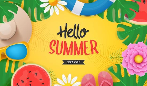 Witam lato napis z elementami plaży tropikalnych liści i owoców