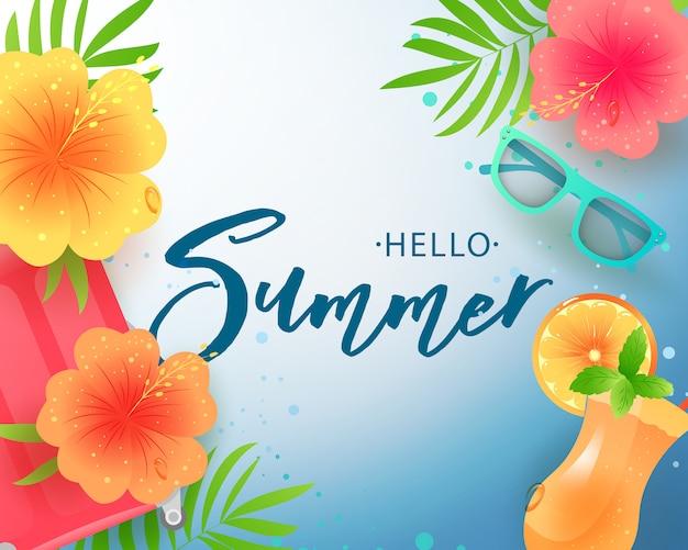 Witam lato odręcznie napis. projekt typografii hello summer na kartki i plakat. obchody szablonu projektu. ilustracja.