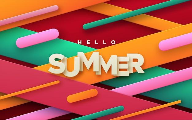 Witam lato papierowy znak na abstrakcyjnym tle z wielobarwnymi geometrycznymi kształtami