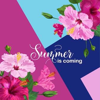Witam lato plakat. kwiatowy wzór z różowymi kwiatami hibiskusa na zaproszenie na przyjęcie, baner, ulotka. tropikalne tło botaniczne. ilustracja wektorowa
