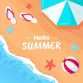 Witam lato płaska ilustracja