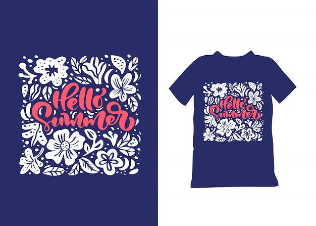 Witam lato ręcznie rysowane napis tekst. pojęcie podróży. skandynawska kwiatowa biała sztuka
