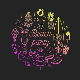 Witam lato ręcznie rysowane napis z elementami beach party