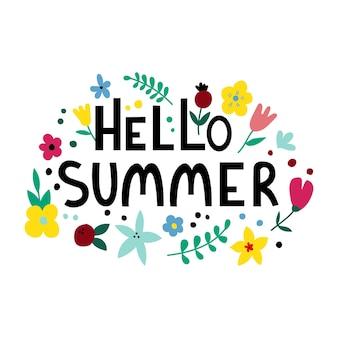 Witam lato tekst i kwiatowy rama ręcznie rysowane napis z kwiatami