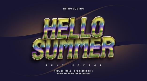 Witam lato tekst w kolorowym stylu retro z efektem musujące. edytowalny efekt tekstowy